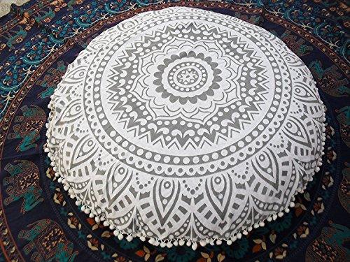 Sophia Art Ombre Mandala Floor Cushions, Decorative Throw Pillowcases 32'', Round Pouf Ottoman, Indian Outdoor Cushion Cover, Boho Pom Pom Pillow Shams (Grey by Sophia Art