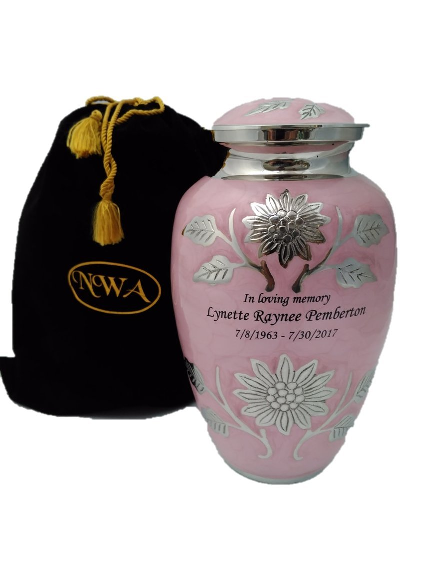 Custom Engraved Pink Adult Human Funeral Cremation Urn, Memorial Urns w/velvet bag and Personalization by NWA (Image #1)