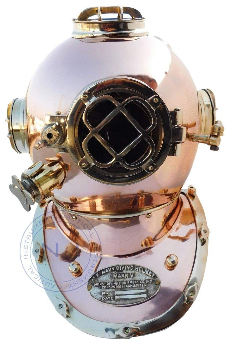 Royal Victorian Export 18'' Vintage Solid Brass Copper Finish Scuba Divers Diving Helmet US Navy Mark V