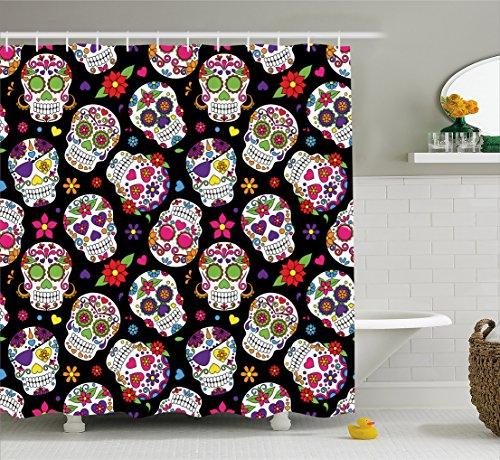 Ambesonne Sugar Skull Decor Shower Curtain, Festive Graveyar