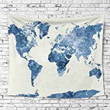 """iLeadon Watercolor World Map Tapestry Wall Hanging - Light-weight Polyester Fabric Wall Decor for bedroom (Blue World Map, 60""""H x 80""""W)"""