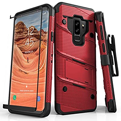 Zizo Bolt Series Samsung Galaxy S9 Plus Case - Full Curved Glass Screen Protector with Holster and 12ft Military Grade Drop Tested