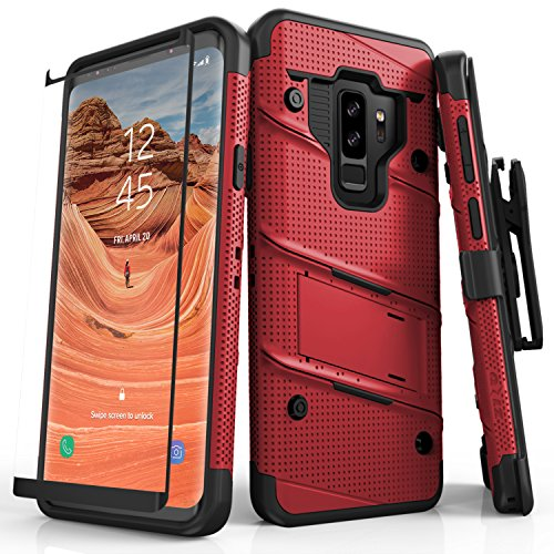 Zizo Bolt Series Compatible with Samsung Galaxy S9 Plus Case Military Grade Drop Tested with Tempered Glass Screen Protector Holster RED Black