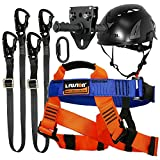 Fusion Climb Tactical Edition Kids Commercial Zip Line Kit Harness/Dual Lanyard/Carabiner/Trolley/Helmet Bundle FTK-K-HLLCTH-13