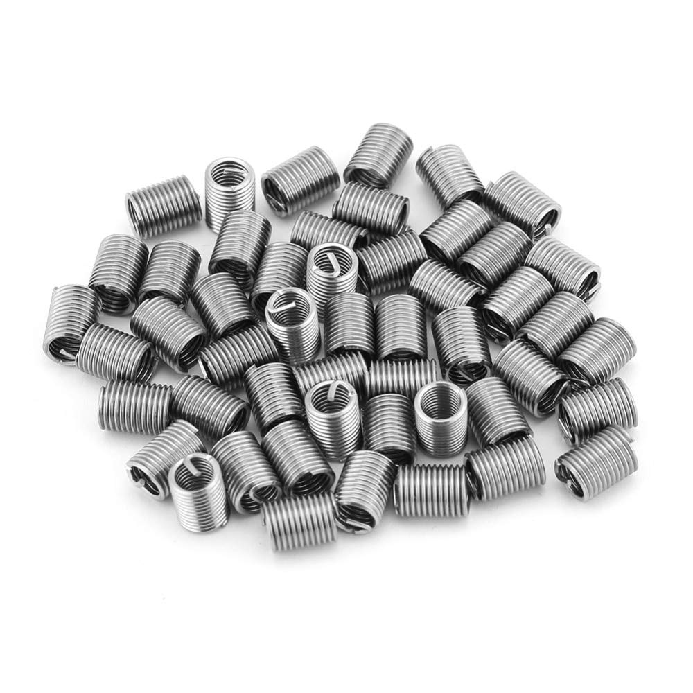 Ochoos 50Pcs Coiled Wire Helical Screw Thread Inserts Thread Repair Insert M6 x 1.0 x 2.5D Screw Bushing Stainless Steel