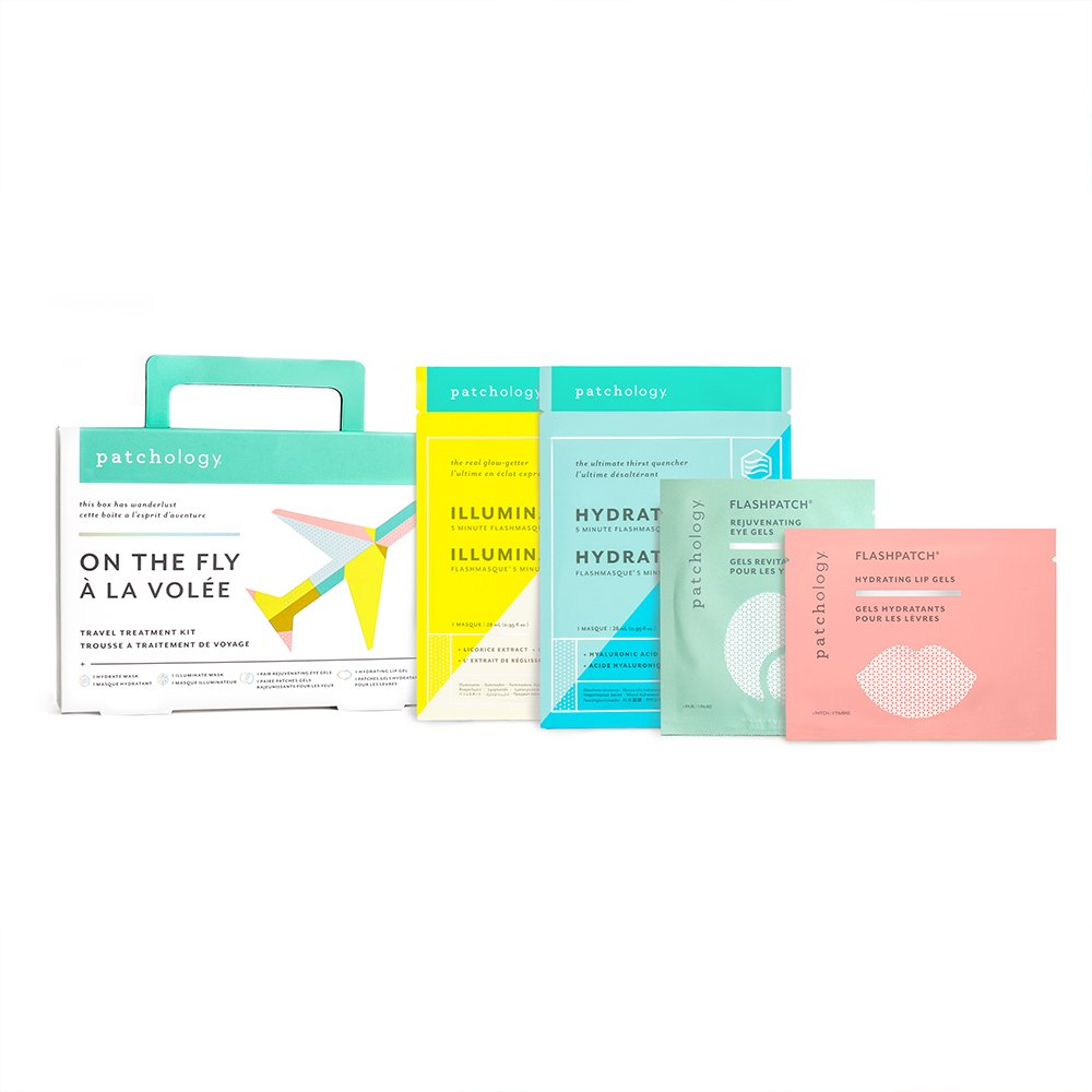 Patchology On The Fly Multi-Masking Travel Skincare Kit with Flashpatch Eye & Lip Gels and Flashmasque Sheet Masks, 0.25 Pound