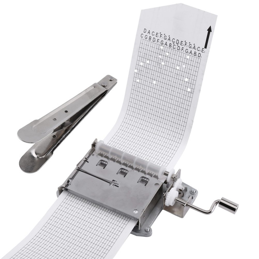 30 Note DIY Hand Crank Music Box Movement + 10 Pcs Refill Blank Paper Strips Puncher for Your Own Songs