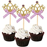 Mefuny Set of 20 Golden Tiara Cupcake Toppers Kids' Party Picks with Purple Bows