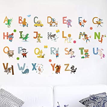 Amazon.com: Kids Room Decor Animal Alphabet Wall Decals For Kids Baby Room  Removable Peel And Stick Educational Letters For Bedrooms Nursery Decor Art  ...