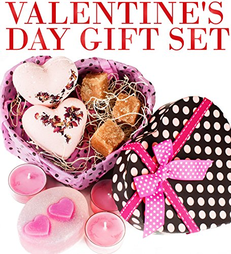 Valentine's Day Gifts Set For Women-Organic Handmade Basket With Relaxation Candles, Rose Oil Bath Bombs, Moisturizing Soap - Natural Body Sugar Scrub- Best Idea for Mom, Girls, Her - Made in USA
