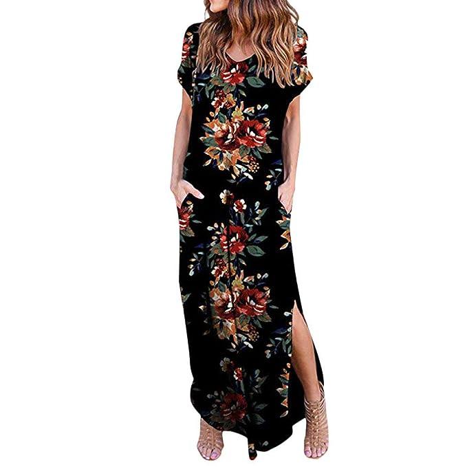 6de938f637 BaZhaHei Women Maxi Dress Floral Print Loose Pockets Sundress Side Split Casual  T-Shirt Dress Short Sleeve Summer Beachwear  Amazon.co.uk  Clothing