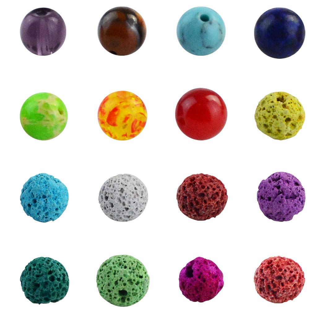 Yolyoo 600pcs Lava Beads Stone Rock Lava Bead Kit with Chakra Beads and Spacer Beads for Essential Oil and Jewelry Making