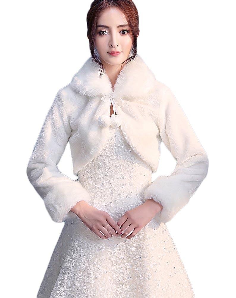 Icegrey Donna Coprispalle Con Pon Pon Per Sposa Scialli de pelliccia ecologica Inverno Avvolgere Cappotto ICG-MAIS-MPJ170831-1