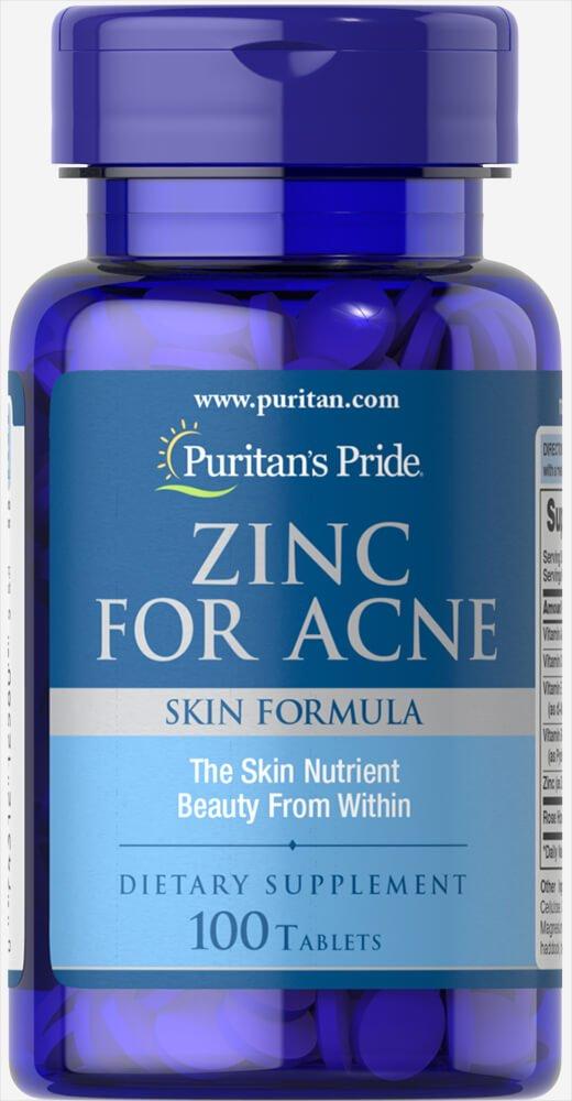 Viên uống kẽm trị mụn Puritan's Pride Premium Zinc For Acne 100 viên