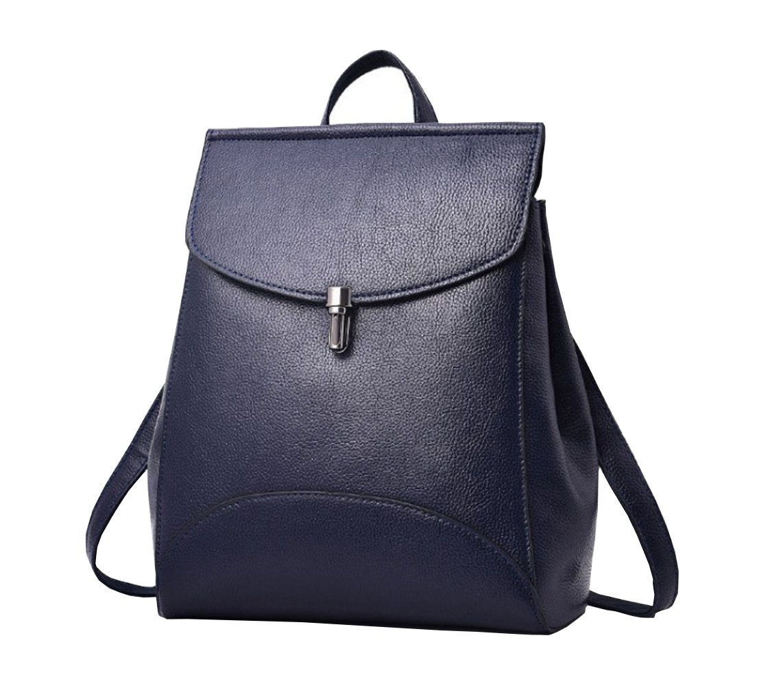 Casual Purse Fashion School Leather Backpack Crossbady Shoulder Bag Mini Backpack for Women & Teenage Girls (Blue)