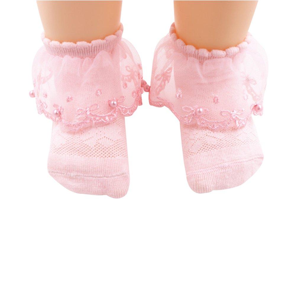 4Pack Baby Girls Pearl Lace Socks Cotton Thin Breathable Anti-skid Princess Socks