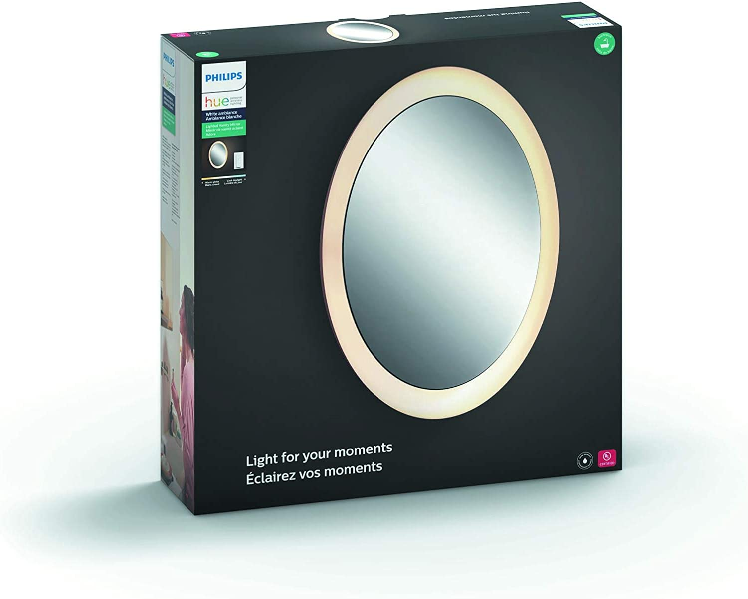 Philips Hue White Ambiance Adore Smart Lighted Mirror with Dimmer Switch (Requires Hue Hub, Works with Amazon Alexa, HomeKit & Google Assistant)