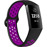 QIBOX Compatible with Charge 3 Bands, Sports Silicone Replacement Women Men Bands Breathable Soft Strap Bracelet Accessories
