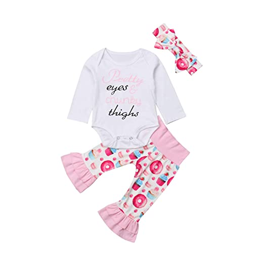 91607e019ad Amazon.com  SUPERON Fashion Newborn Infant Baby Girl Clothes Long Sleeve  White Jumpsuit Romper Cotton Ruffle Pants Outfit Autumn Casual  Clothing