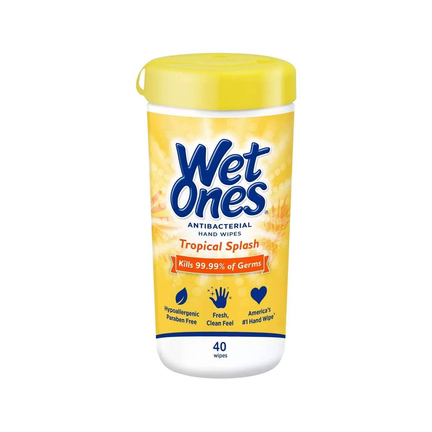 Wet Ones Citrus Antibacterial Hand and Face Wipes Canister, 40 Count (Pack of 2)