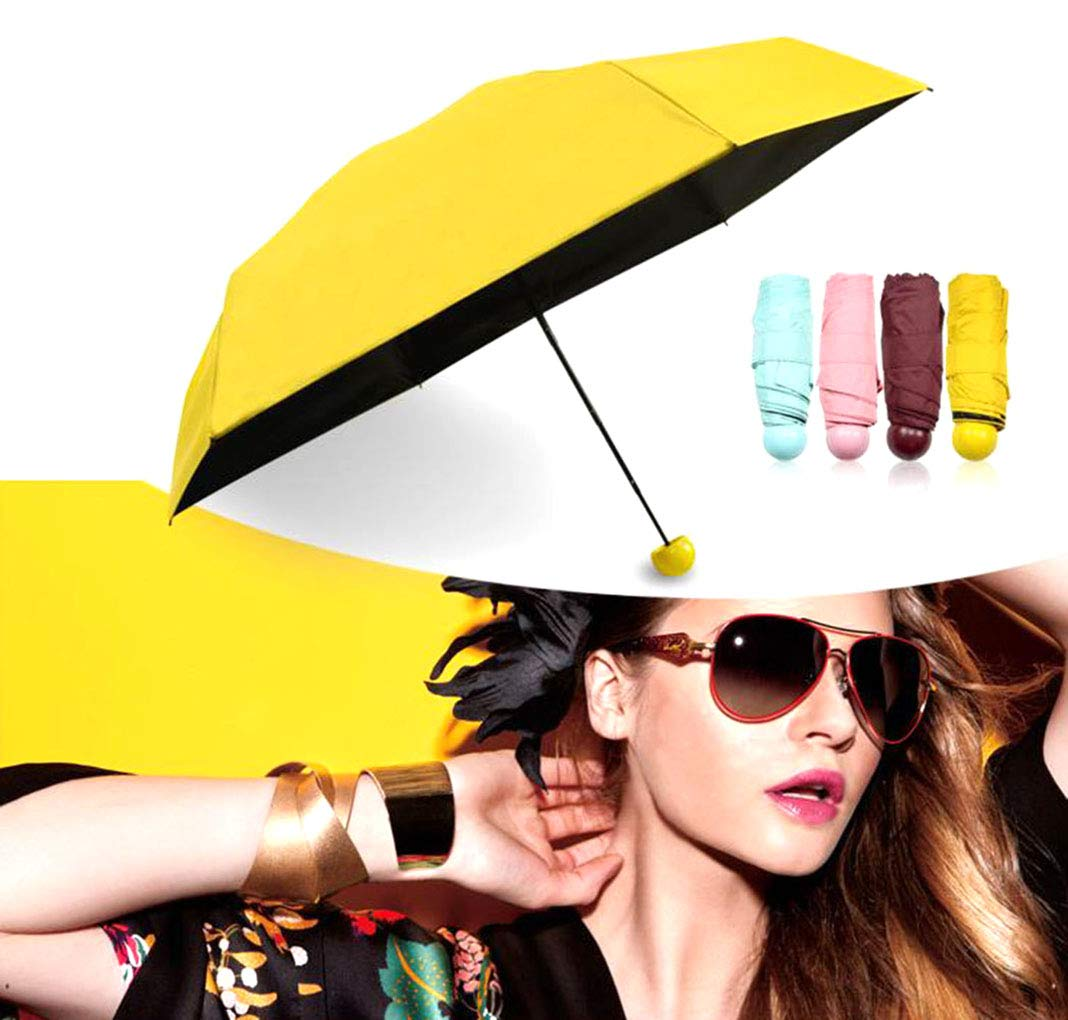 Amazon.com: WJ Umbrella, Mini Capsule Umbrellas, Outdoor Travel Ultralight Portable Rainproof Sunscreen Anti-UV Folding Umbrella for Women,Yellow: Home & ...