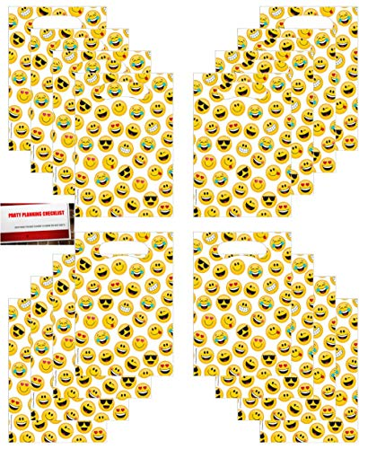 (Emoji Funny Face Favor Loot Bags 16 Count (Plus Party Planning Checklist by Mikes Super Store))
