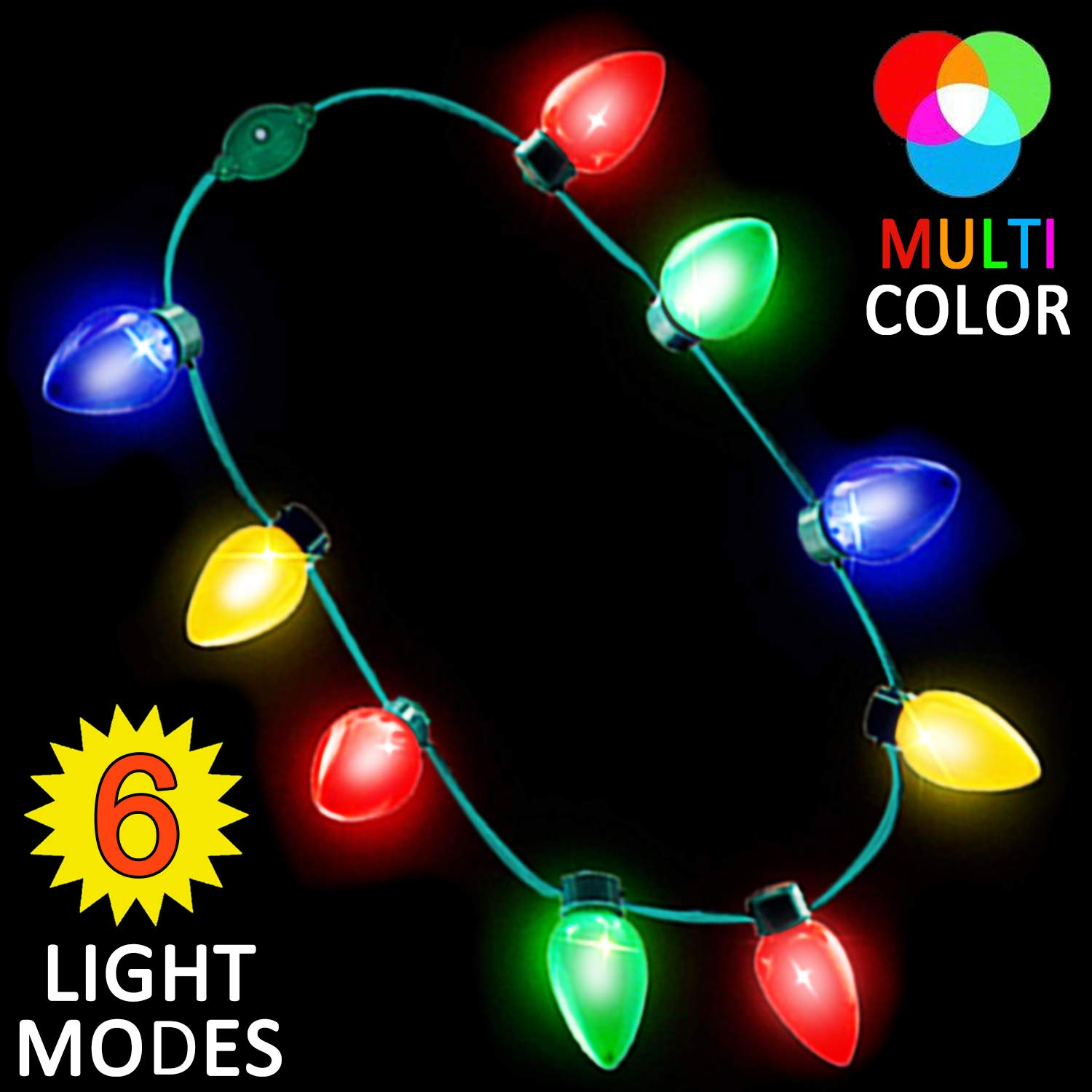 Holiday Xmas Party Favors Flashing Light Funny Necklace for Kids Girls Boys Adults Ugly Xmas Gifts Christmas Decorations Colorful String Lights Batteries Included 10 Pack Christmas Light Necklace Bulb