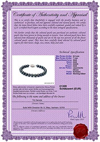 Noir 6.5-7mm AAA-qualité Akoya du Japon 925/1000 Argent-Bracelet de perles