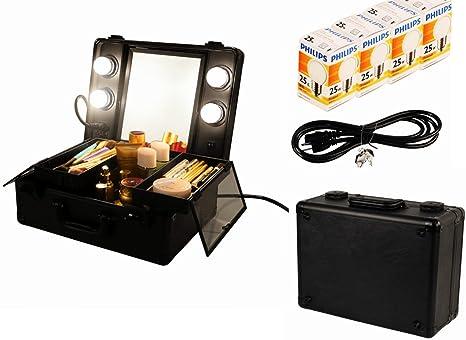 Black Unho Pro Light Cosmetic Makeup Train Case Led Vanity Mirror Jewelry Box Organizer Lockable