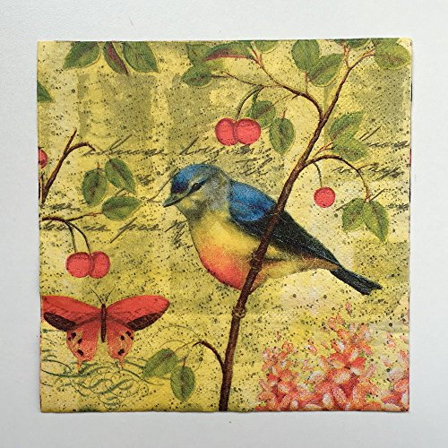 20pcs 33*33cm Bird Paper Napkins,100% Virgin Wood Napkin