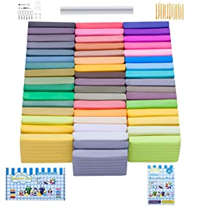 Polymer Clay, 50 Colors Oven Bake Clay with 27 Models Creations Book and Rolling Pin, Modelling Clay Soft and Nontoxic DIY Plastic Tools and Accessories