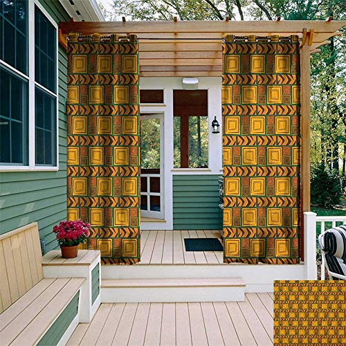 leinuoyi Zambia, Outdoor Curtain Set, Kenya Ethnic Motif with Geometrical Aztec Native American Effects Print, Outdoor Curtain Panels for Patio Waterproof W108 x L108 Inch Yellow Brown Green