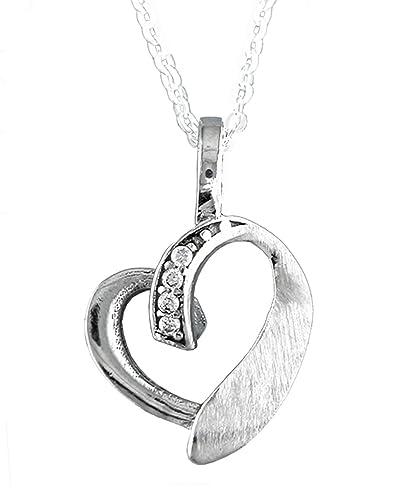 ef7beded36c2 Alylosilver Collar Colgante Corazon de Plata para Mujer con Circonitas  Redondas - Incluye Cadena de Plata de 40 cm y Estuche para Regalo   Amazon.es  Joyería