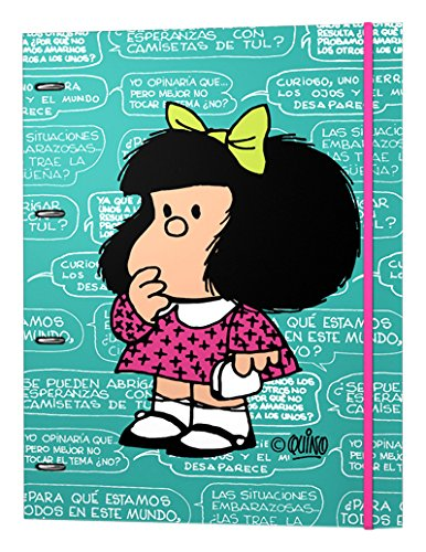 Mafalda 88191192 - Carpetas de 4 anillas con recambio de hojas y diferentes diseños escolares, A4: Amazon.es: Oficina y papelería