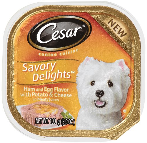 "Cesar Savory Delights Canine Cuisine Ham and Egg Flavor with Bacon and Potato in Meaty Juices 3.5-Ounce (Pack of 24 ) "", My Pet Supplies"