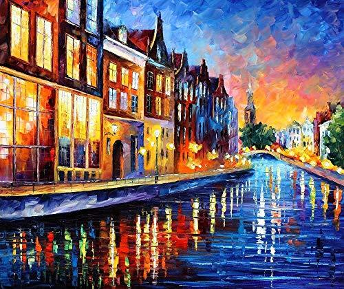 Holland Fine Art Europe Oil Painting On Canvas by Leonid Afremov - Amsterdam, Sunday Night. Size: 36 ()