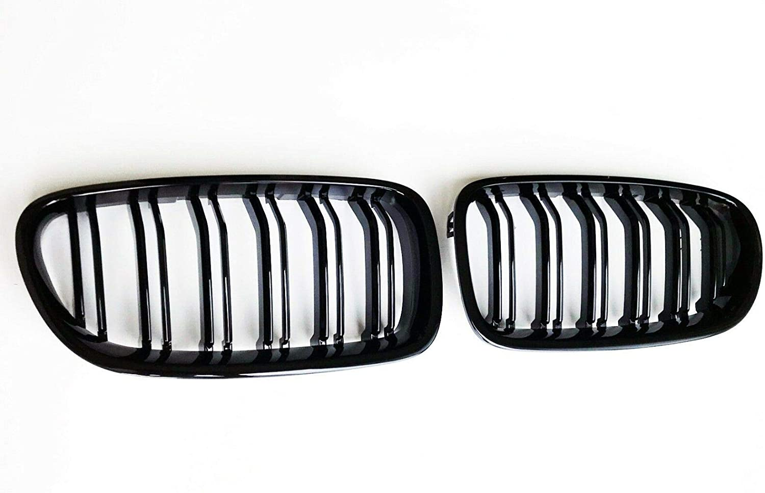 3000Miles F10 Front Kidney Grill for 2010-2016 BMW 5 Series F10 F11 And F10 M5 Double Slats Gloss Black Grill, 2-pc Set