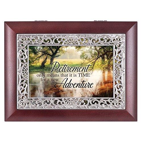 Retirement Wooded Pond Scene Ornate Rosewood Jewelry Music Box Plays Wonderful World (Keepsake Retirement)