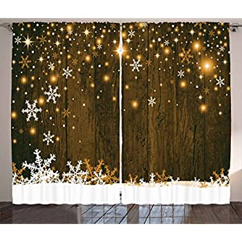 Amazon Com Ambesonne Christmas Curtains Rustic Wooden