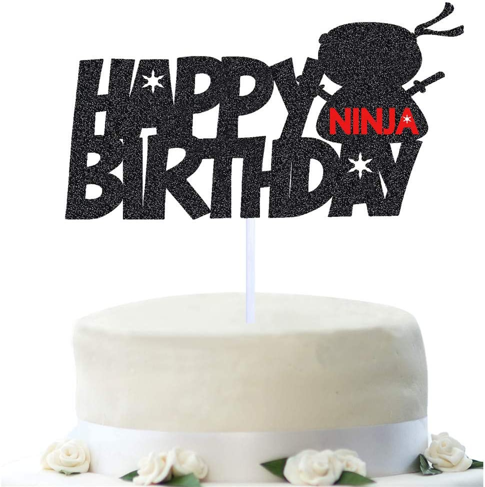 Ninja Happy Birthday Cake Topper,Ninja Party Decorations Supplies (Blak Glitter)