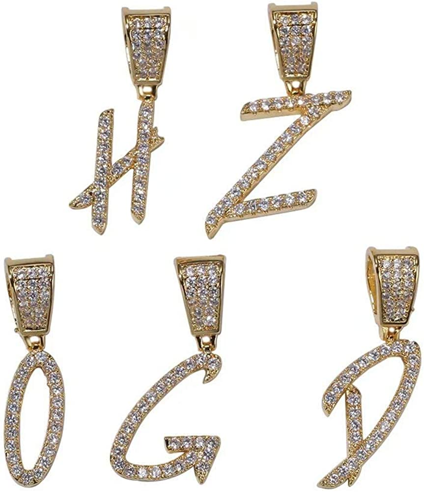 Grance Hip Hop Custom Cursive Name Necklace Iced Out A-Z Bubble Initial Letter Pendant Bling Bling Full of Diamond Tennis Chain in Script Front Silver Gold for Men Women
