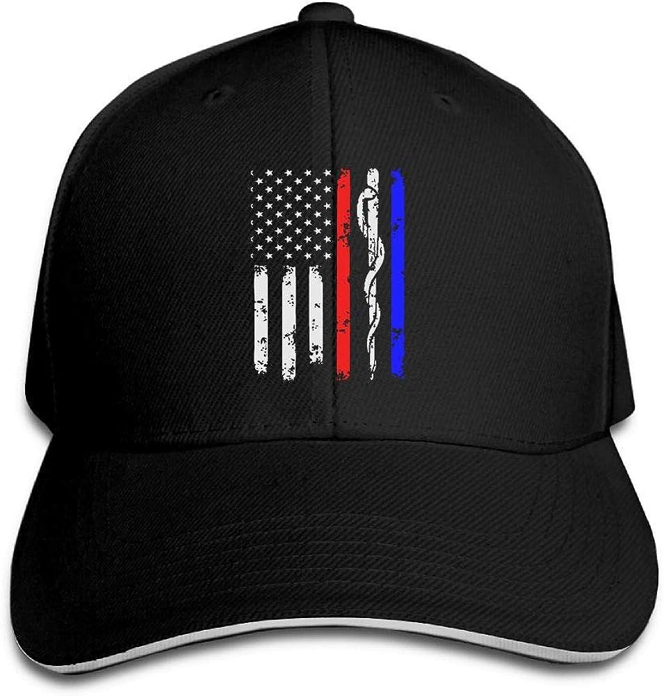 JustQbob1 Police /& Firefighter /& EMT Flag Outdoor Snapback Sandwich Cap Adjustable Baseball Hat Plain Cap