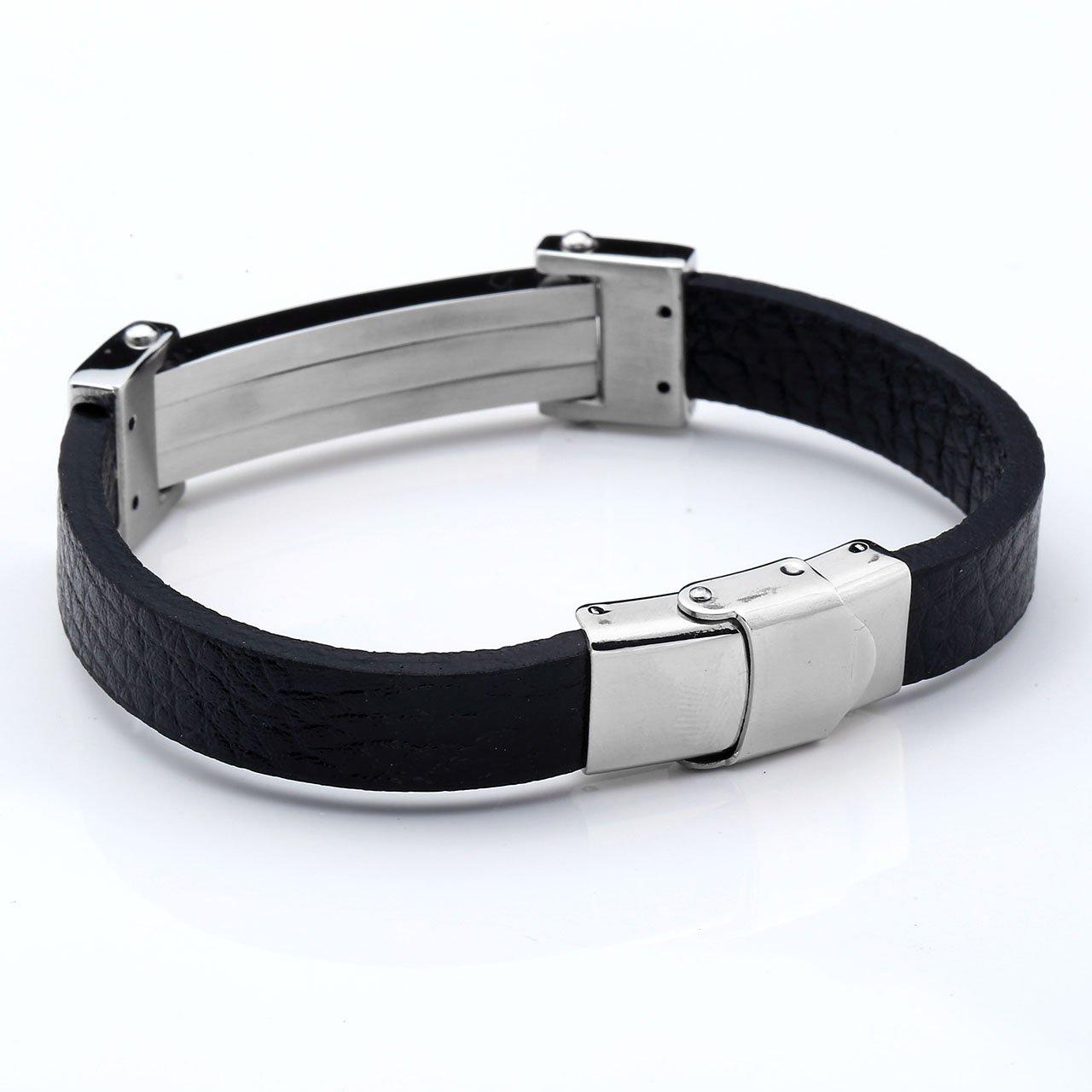 PiercingJ - Bijoux Bracelet Leather Cuir Veritable Menotte avec Fermoir Acier Inoxydable Lien Poignet Manchette Biker Motard Chaine de Main Femme