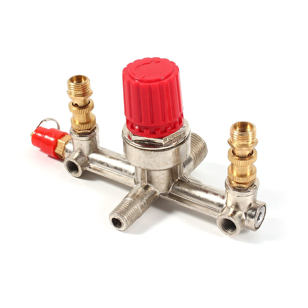 Interruptor de Presi/ón de compresor de Aire GLOGLOW V/álvula reguladora de Interruptor de Control de Doble Salida de Aleaci/ón