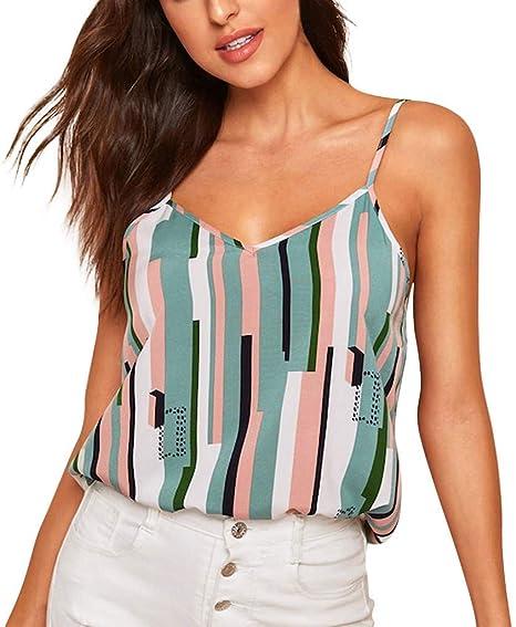 SMILEQ Moda para Mujer Chaleco Camis Casual Camisetas sin Mangas Colorblock Camisa a Rayas con Cuello en v Blusa: Amazon.es: Deportes y aire libre