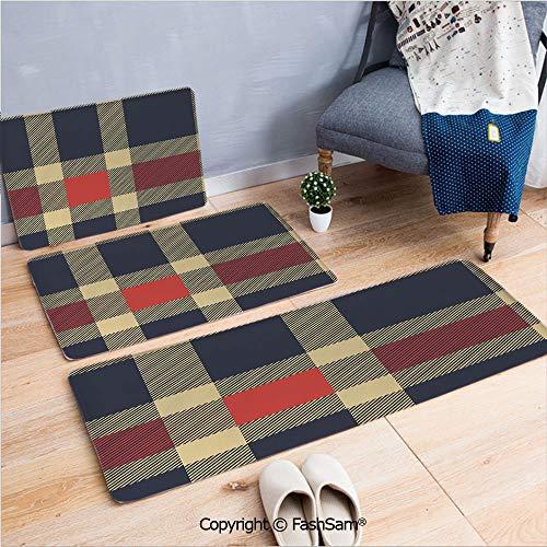(FashSam 3 Piece Non Slip Flannel Door Mat Vintage Plaid Tartan Pattern Design Retro Display Checks Cross Lines Indoor Carpet for Bath Kitchen(W15.7xL23.6 by W19.6xL31.5 by W31.4xL47.2))