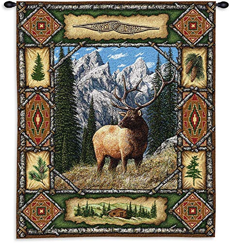 - Pure Country Weavers Elk Lodge | Woven Tapestry Wall Art Hanging | Ornate Rustic Hunting Cabin Decor | 100% Cotton USA Size 34x26