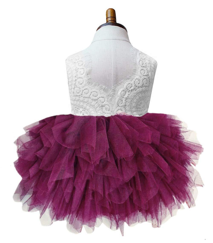 2Bunnies Girl Beaded Peony Lace Back A-Line Tiered Tutu Tulle Flower Girl Dress (Plum Sleeveless, 4T)