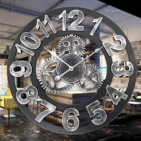 16 pouces engrenages industriels pendaison horloge creuse vieille salle de  montre restaurant personnalité Art Déco horloge, argent A  Amazon.fr   Cuisine   ... 8c1db93f3f5a