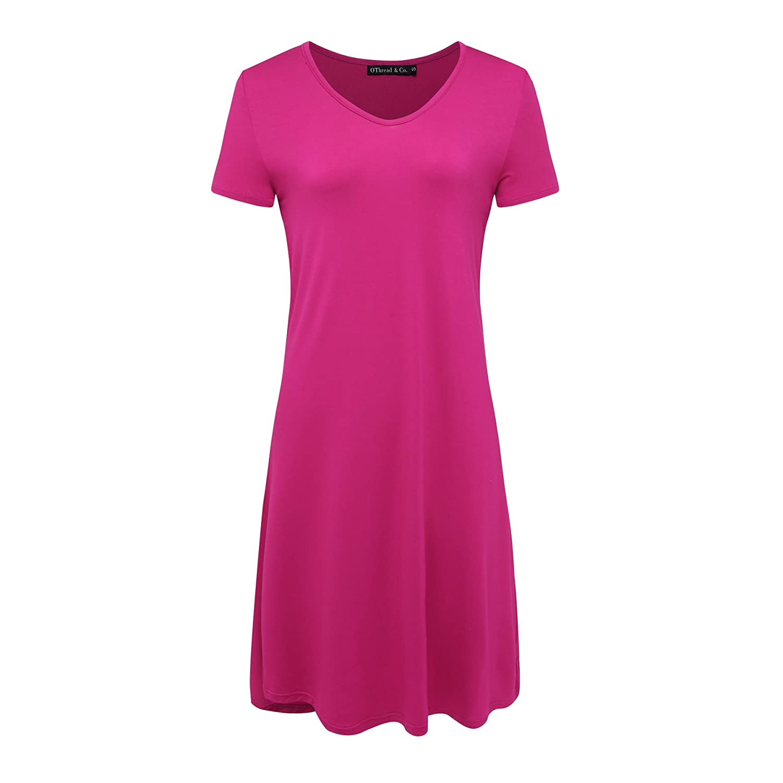 Hot Pink OThread & Co. Women's Nightshirt Comfy Sleepwear Knit Nightdress Short Sleeve Nightgown